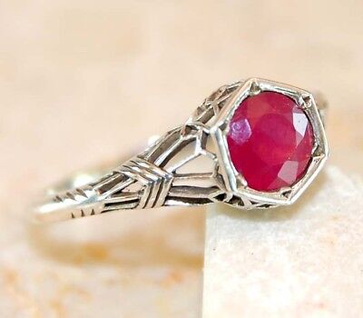 1CT Ruby 925 Solid Sterling Silver Art Nouveau Filigree Ring Jewelry Sz 7