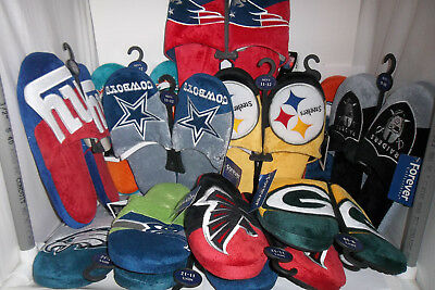 Pick your Team NFL Team Logo Color Slide on SLIPPERS Adult Sz S-XL christmas