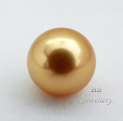 HS Rare Huge Round Loose Golden South Sea Cultured Pearl 14mm Top Grading