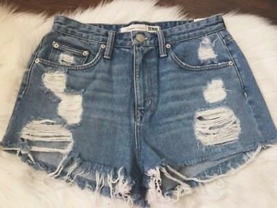 Lovers + Friends Distressed Destroyed High Waisted Denim Shorts (10) (29)