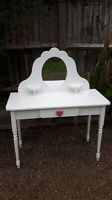 Girls dressing table - with mirror & drawer - white