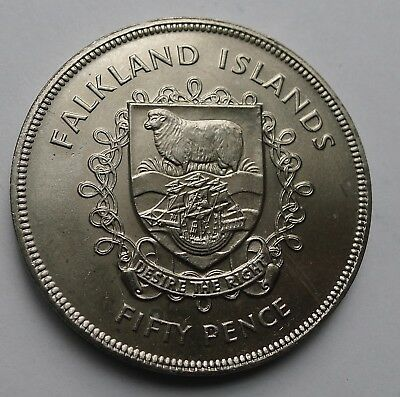 Falkland Islands Fifty Pence 50p Crown 1977 UNC Queen's Jubilee (Tray 110)