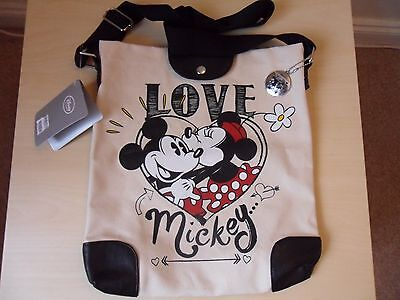 """NEW Disney Canvas """"LOVE MICKEY""""  Mickey & Minnie Mouse Shoulder Bag & Metal Tag"""