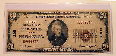 National Banknote Currency Series 1929 SPRINGFIELD Illinois 1st National CH. 205