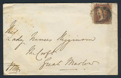 GB QV May 1856 1d. Red Plate 37 FA SG Specialised C8 ON COVER LONDON - GT MARLOW