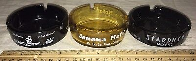 Antique 3 Las Vegas Hotel Glass Ashtray Vintage Casino Stardust Gold Key Jamaica