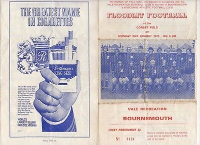 GUERNSEY 1971 FOOTBALL PROGRAMME. VALE RECREATION v BOURNEMOUTH