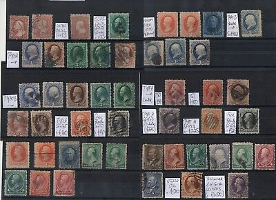 #331 USA 19thC early values to 90c on 6x cards