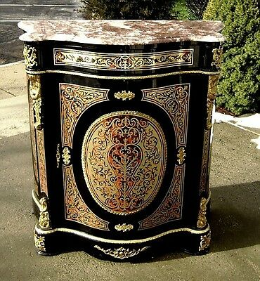 Quality black marble top Louis XIV style Boulle commode