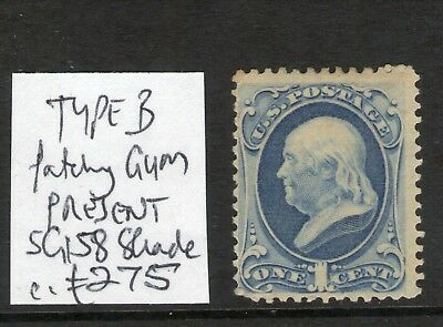 #335 USA 1873 1c MINT WITH GUM SG158 shade c£275