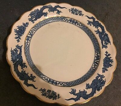 Booths Dragon A8029 Blue&White China 25cm Dinner Food Cake Plate Vintage Antique