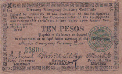 10 Pesos  Vf Guerilla  Banknote From 1944 Philippines/negros!pick-S676!