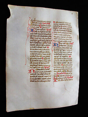 "1280 AMAZING Medieval Vellum, rare ""Original Leaf"" from a Book of Hours...F02"