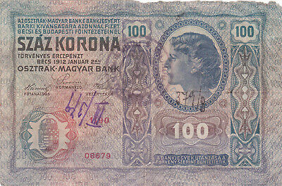100 Krone Banknote 1919!with Un Id. Stamp Of Kingdom Of Serbs,croats Slovenes!