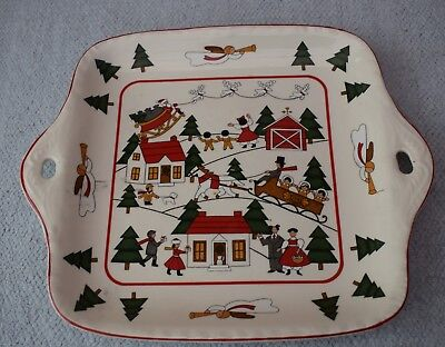 Masons CHRISTMAS VILLAGE 2 Handled Square Cake or Bread & Butter Plate