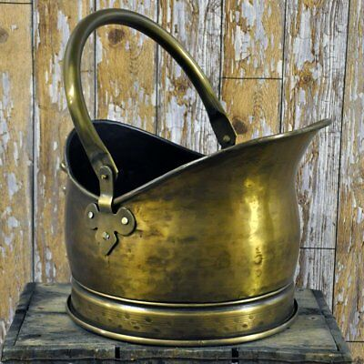 Brass Coal bucket Antique Style Hammered wood burning Fireplace solid fuel