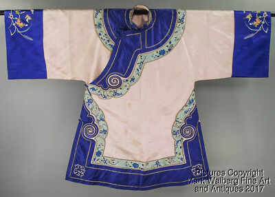 Chinese Textile Woman's Silk Damask Robe, Floral & Bird Design, Late Qing Period