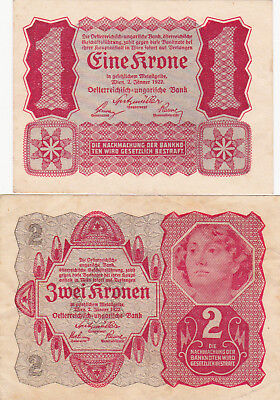 1&2 Kronen Ef Banknotes From Austria 1922 Pick-73-74