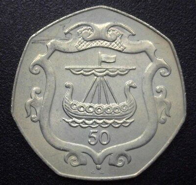 Isle Of Man 1987 50 Pence Km#148 Viking Longship In Shield   Exceptional Unc
