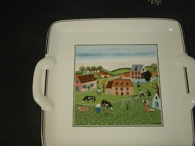 "8"" Square Handled Villeroy & Boch Design Naif Tray"