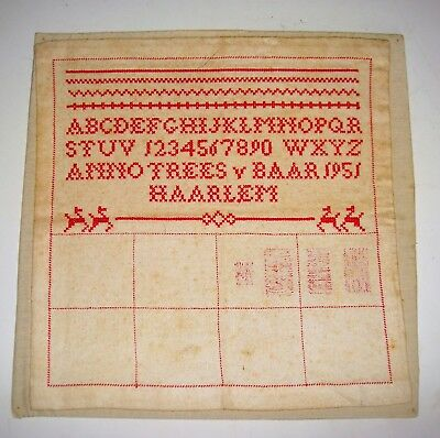 Sampler Dated 1951 But Looking Earlier In Red