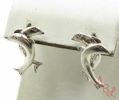 Sterling Silver Vintage 925 Two Dolphins Stud Earrings (5.9g) - 573245