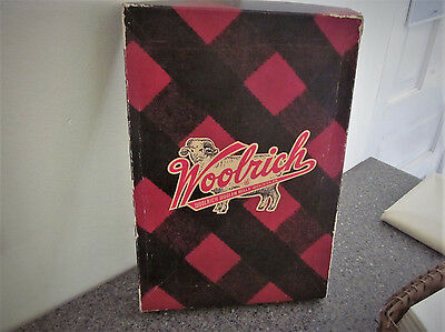 Vintage Woolrich Wool Clothing Empty Graphic Box Hunting Advertising Plaid