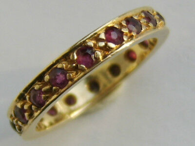 Old Vintage / Antique 9Ct Gold Ruby Eternity Ring