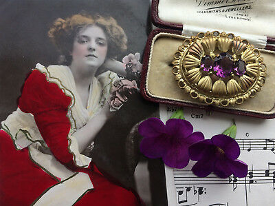 Antique Art Nouveau Bohemian Amethyst Paste Gold Plated Scallop Shell Brooch Pin