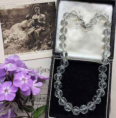 Antique Edwardian Pools Of Light Faux Rock Crystal Beads Necklace. Bridal. Gift