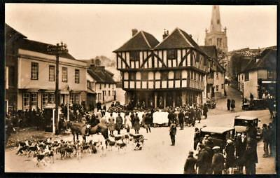RPPC pc Essex = Thaxted Scene, The Hunt Street Scene, Showing Town Hall & Church