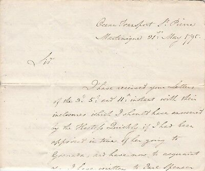 1795 Martinique Letter Ex. Vice Admiral Caldwell, Interesting Content
