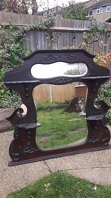  Victorian over-mantle mirror - bevelled glass - solid mahogany
