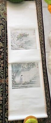 2 Old Chinese Japanese Painting 1 Scroll Colored Women Flowers Red Seal Script