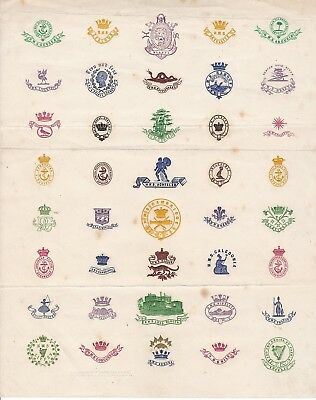 Victorian Page Of Ships Crests By Clarke & Son Of Devonport