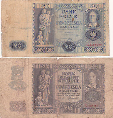2X20 Zlotych Vg Banknotes From Free&german Occupied Poland 1936-40!pick-77-95
