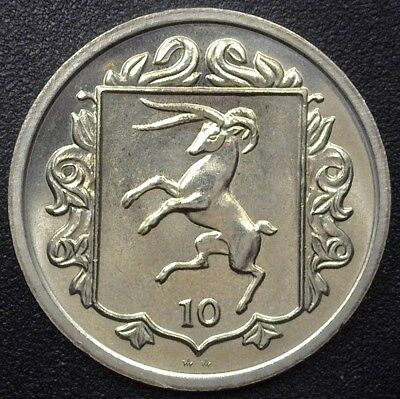 Isle Of Man 1984 10 Pence -College Of Arms- Km#115  Gem++ Uncirculated