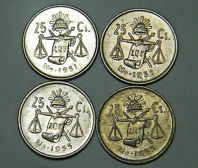 lot of 4 MEXICAN 25 CENTAVOS SILVER COINS