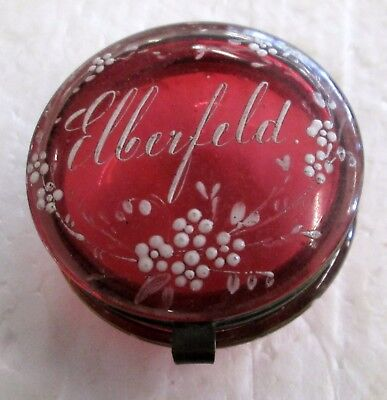 Antique Pink Glass Hand painted design Patch Box and Elberfeld name