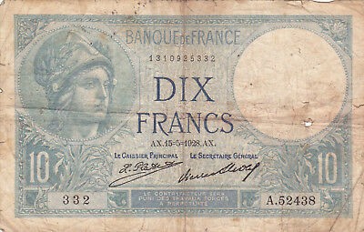 10 Francs Vg Banknote From France 1928! !pick-84