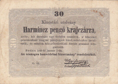 30 Pengo Kreutzer Fine Banknote From Hungarian Rebell Government 1849!pick-S122