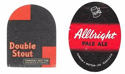 2 OLD Bottle Labels TOMSON & WOTTON BREWERY Double Stout Allbright Ramsgate Kent