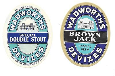 2 OLD Bottle Labels WADWORTH BREWERY Brown Jack Double Stout Devizes Wiltshire