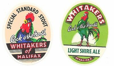 2 OLD Bottle Labels WHITAKERS BREWERY Halifax Light Standard Ale Special Stout