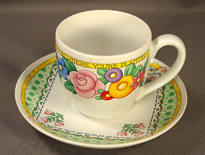 "MARY ENGELBREIT/ME Ink ""Bloom Where You're Planted"" Cup & Saucer Set - EUC!"