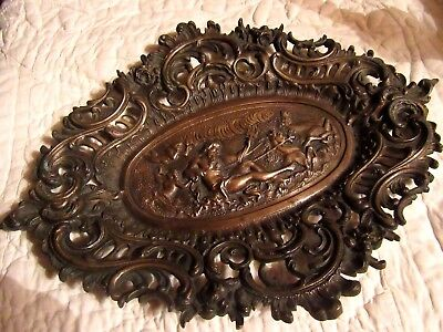 Large Antique Bronze Plate Plaque Tray Rococo Style