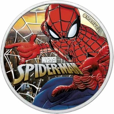 2017 SPIDERMAN Colorized Sunset City 1oz .999 Silver Coin with Box & CoA