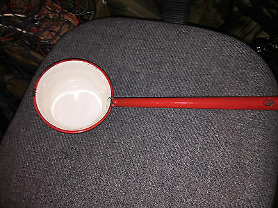 vintage  USA  Enamel Ware red  cup spoon