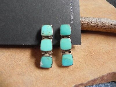Turquoise & Sterling Silver .925 Clip-On Earrings Taxco Mexico