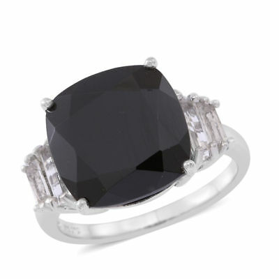 Boi Ploi Black Spinel, White Topaz Ring in Sterling Silver 16 Ct